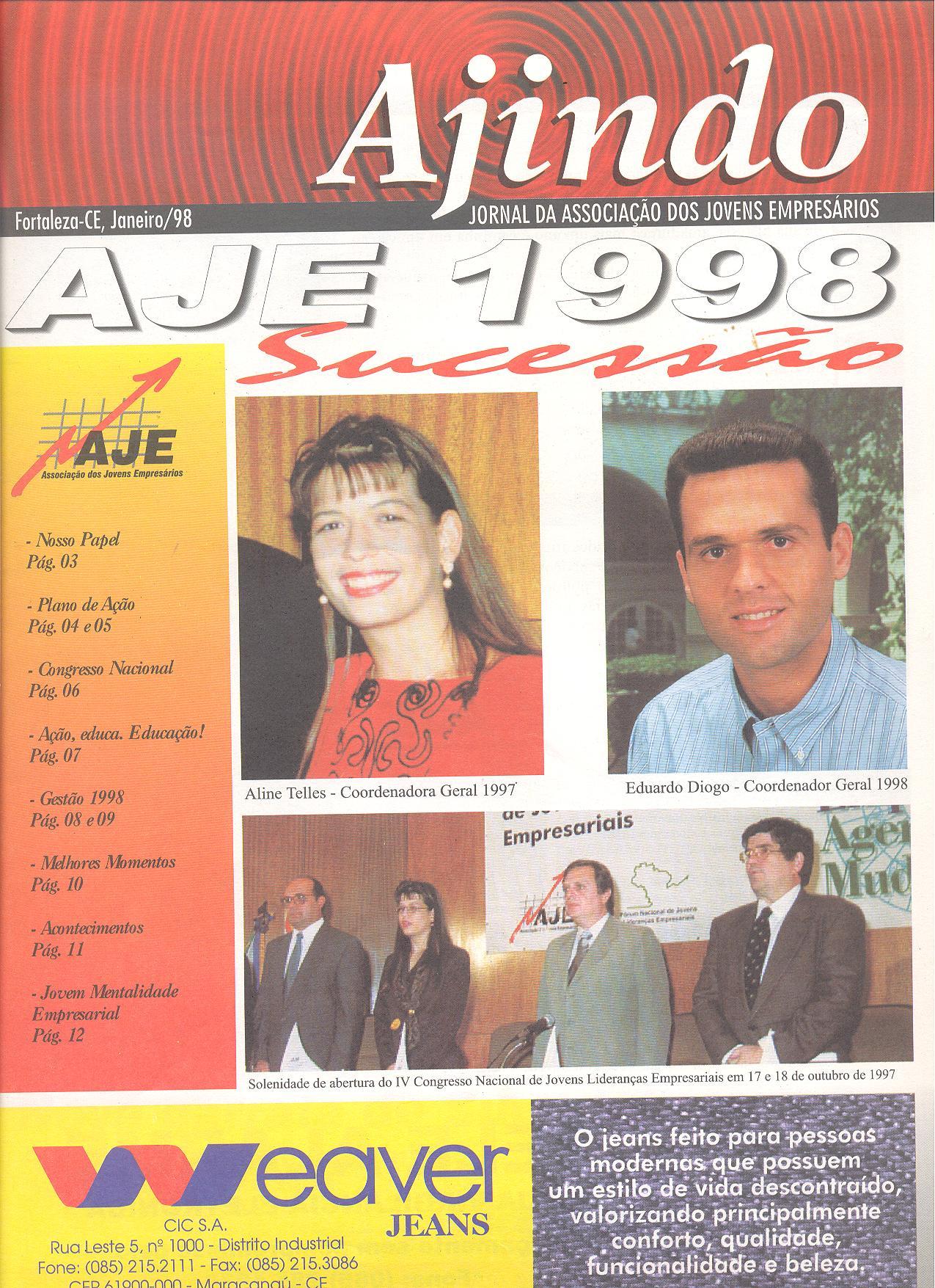 Informativo Ajindo da AJE Fortaleza sobre a Sucessão 1998