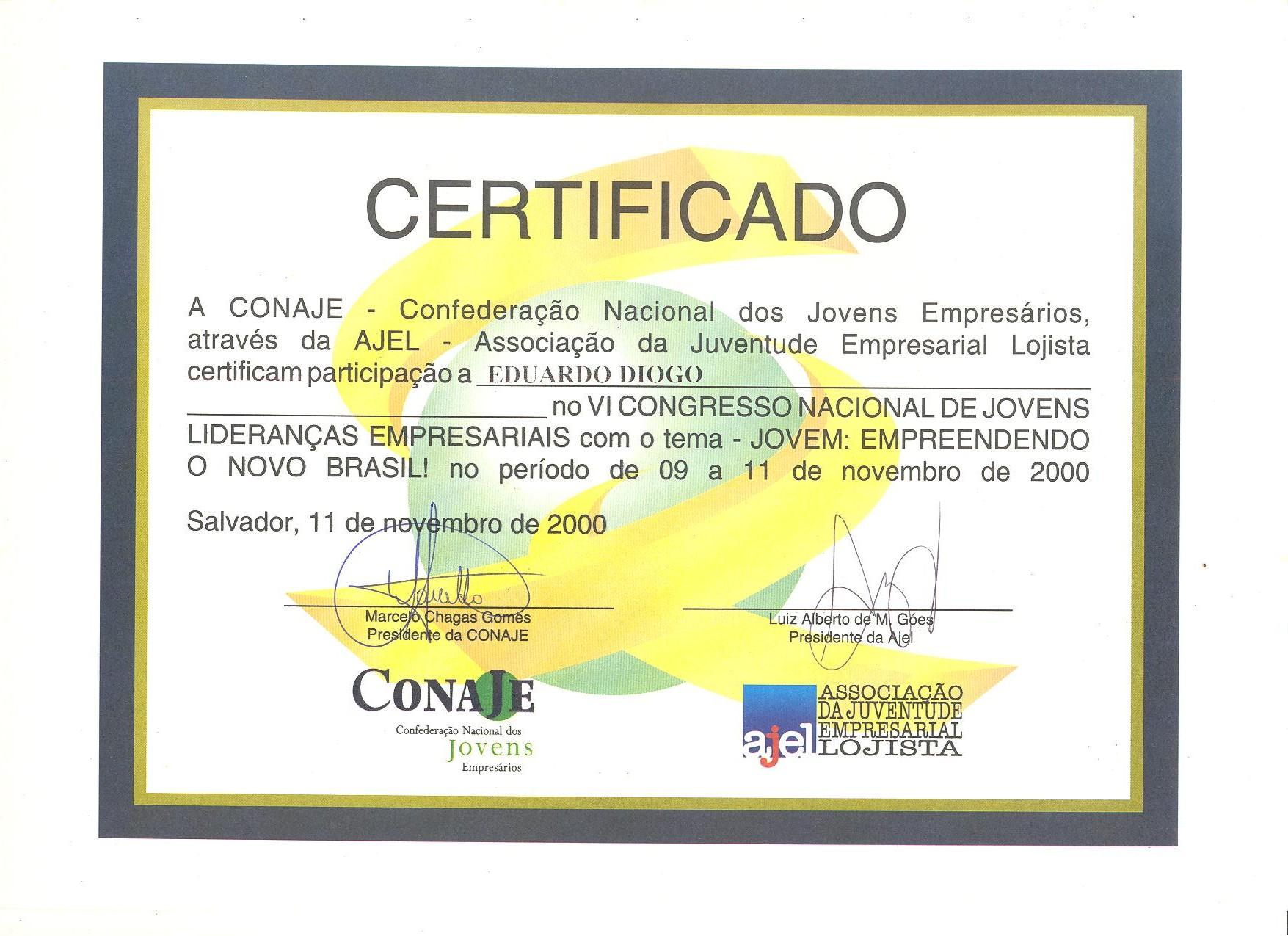 Certificados de participação de 2000