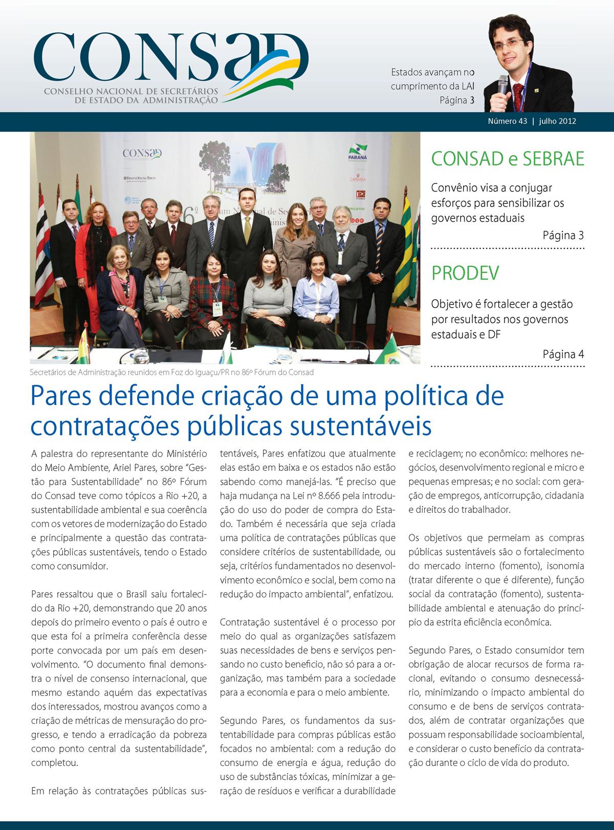 Jornal do Consad Número 43 – Julho de 2012